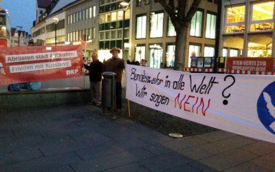 Kundgebung für den Frieden und gegen das JSEC-Zentrum in Ulm